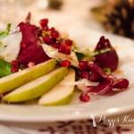 Weihnachtsmenü 2013 – Teil 1 – Rucola-Salat mit Pecorino, Birnen und Walnüssen