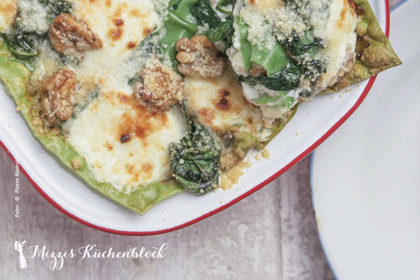 Lasagne nit Spinat, Ricotta und Walnüssen